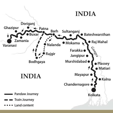 Map for The Upper Ganges River - Upstream (Kindat Pandaw)