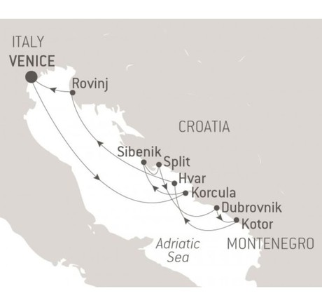 Map for The Best of Croatia with Ponant aboard Le Lyrial