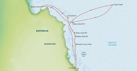 Map for Best of the Great Barrier Reef (Coral Expeditions II)