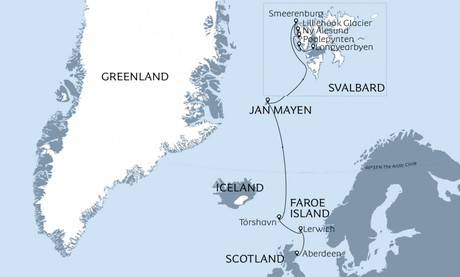 Map for Through the North Atlantic - From Scotland to Svalbard