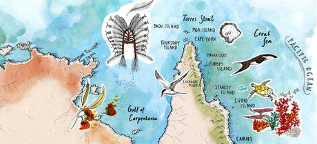 Map for Torres Strait & Cape York - Cairns to Horn Island (Coral Discoverer)