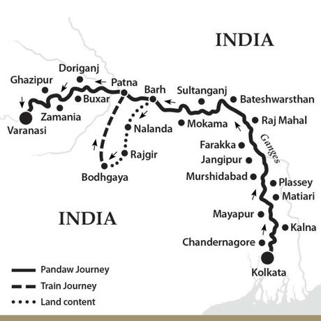 Map for The Upper Ganges River (Upstream)