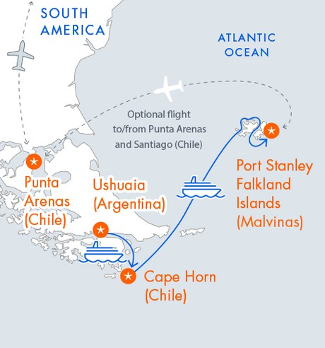Map for Ushuaia, Cape Horn & the Falklands (Malvinas)