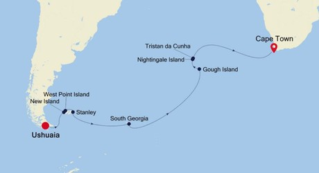 Map for Ushuaia to Cape Town: Transoceanic Expedition Cruise