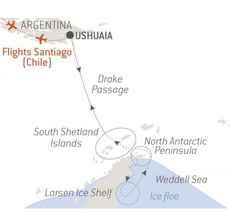 Map for The Weddell Sea & Larsen Ice Shelf