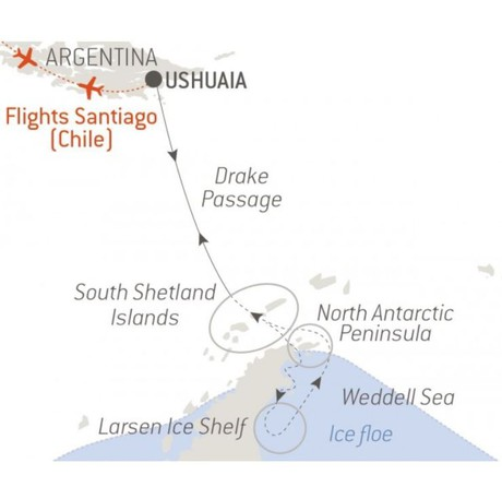 Map for The Weddell Sea & Larsen Ice Shelf - with National Geographic