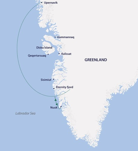 Map for West Greenland Explorer (Greg Mortimer)