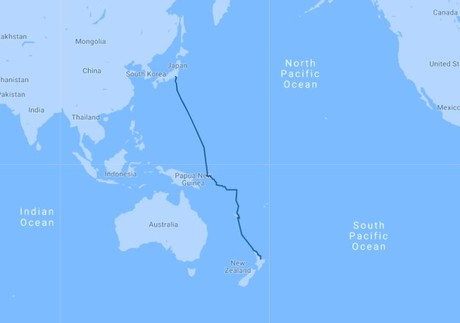 Map for Western Pacific Odyssey: New Zealand to Japan