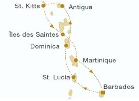 Map for Windward Islands New Year Cruise (Royal Clipper)