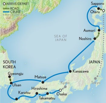 Map for Wonders of Japan Cruise (Le Soleal)