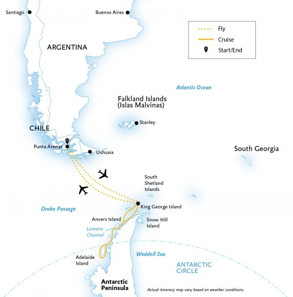 Map for Antarctic Express: Crossing the Circle (World Explorer)