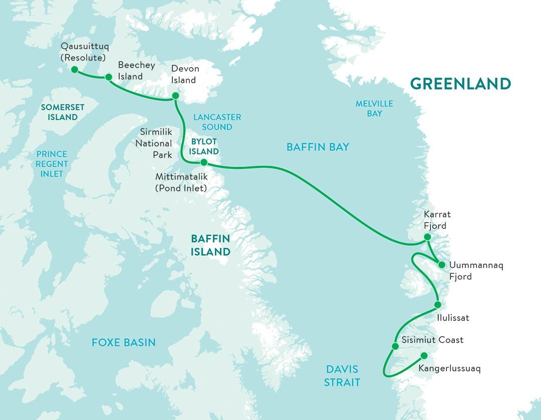 Map for Arctic Safari (Ocean Endeavour)