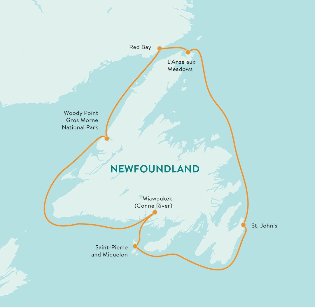 Map for Newfoundland Circumnavigation (Ocean Endeavour)
