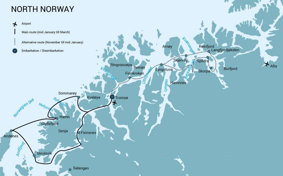 Map for North Norway, Aurora Borealis & Whales (Noorderlicht)