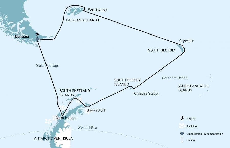 Map for Falklands, South Georgia and Antarctica 2020 - 2021 (Plancius)
