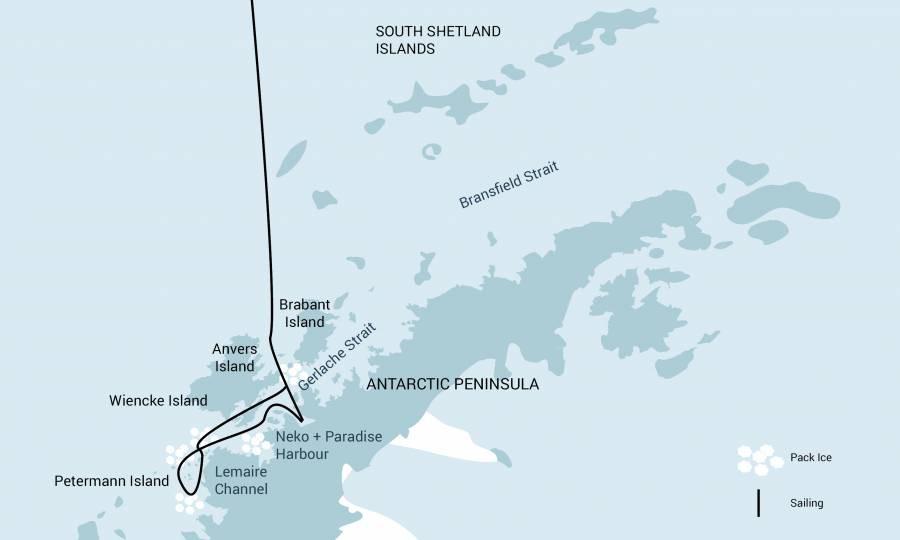 Map for Antarctica Peninsula - Basecamp Plancius 2020 - 2021