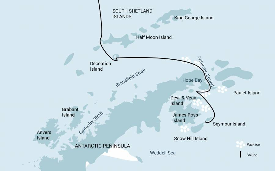 Map for Weddell Sea - In Search of the Emperor Penguin incl. Helicopters (Ortelius)