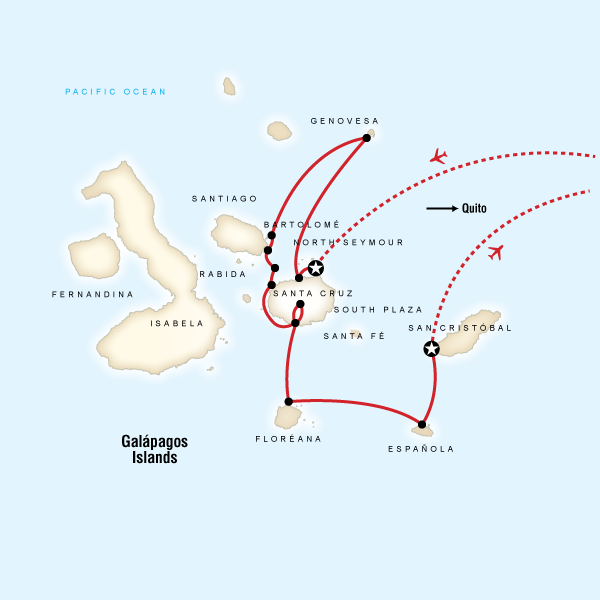 Map for Galápagos — North, Central, & South Islands (Eden)