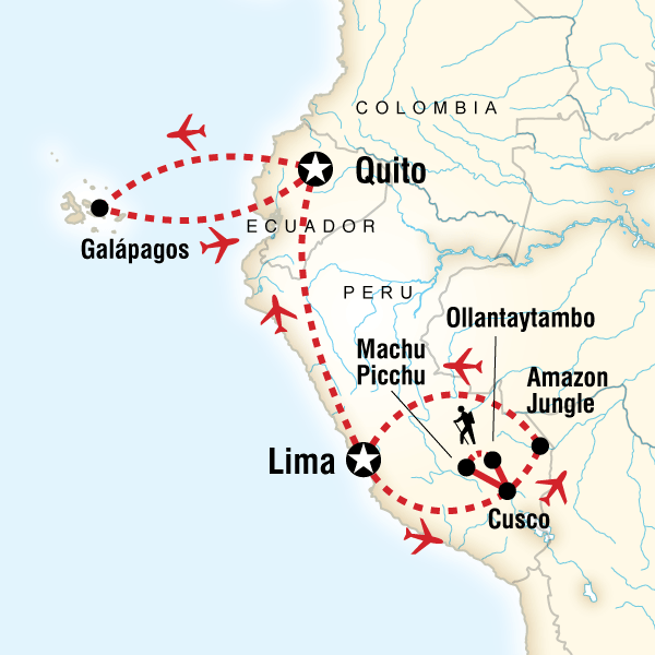 Map for Amazon to the Andes & Galápagos South & Central Islands