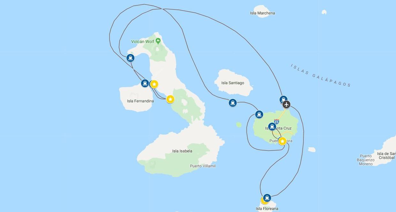 Map for Western Galápagos (La Pinta)