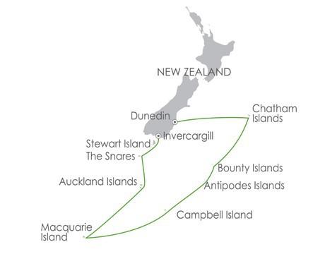Map for Subantarctic Islands: Birding Down Under 2020