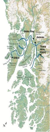 Map for Alaska's Islands, Whales & Glaciers (Misty Fjord)