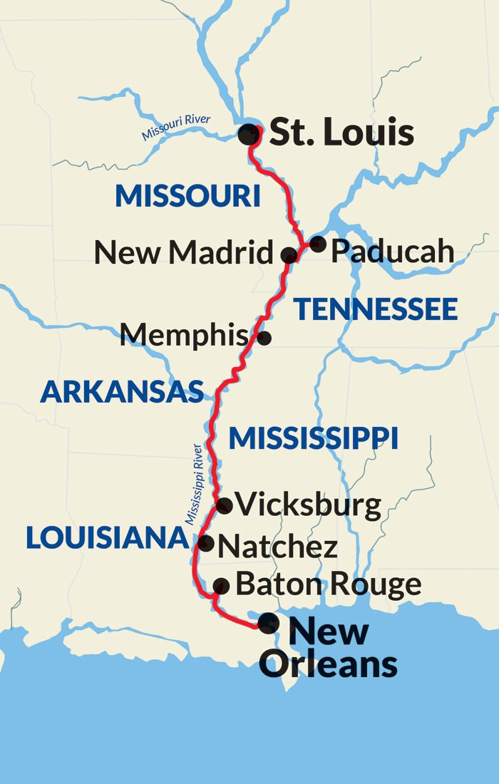 Map for Mississippi River Gateway Cruise (American Harmony)