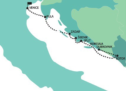 Map for Venice, The Adriatic, Kotor Bay and Dubrovnik luxury sail cruise