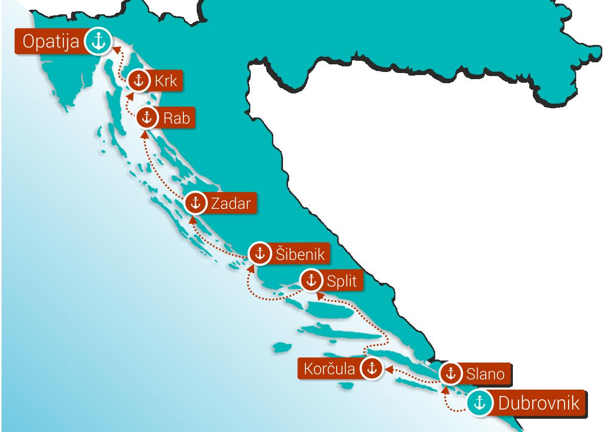 Map for Adriatic Explorer: Dubrovnik - Opatija (Deluxe Ships)