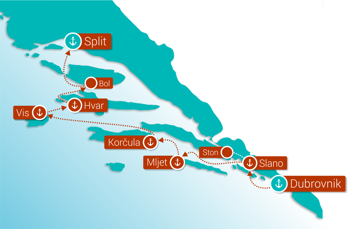 Map for Wonders of Croatia: Dubrovnik - Split (Deluxe Superior Ships)