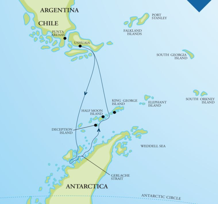 Map for Antarctic Peninsula Adventure (Akademik Vavilov)