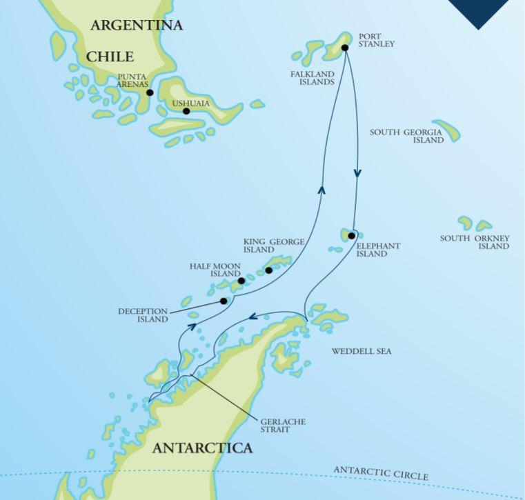 Map for Antarctic Peninsula Adventure (RCGS Resolute)