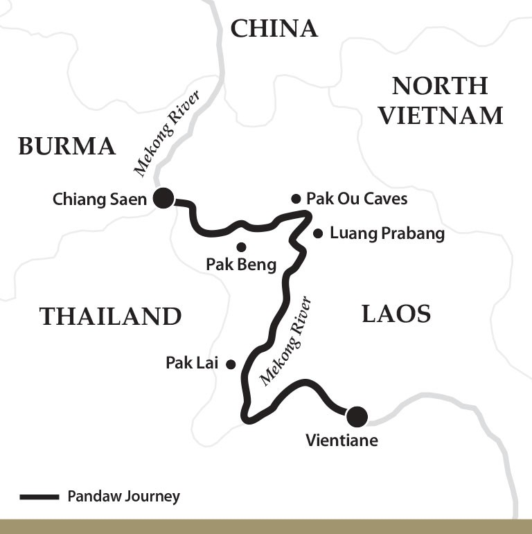 Map for The Laos Mekong Downstream (Sabaidee Pandaw)