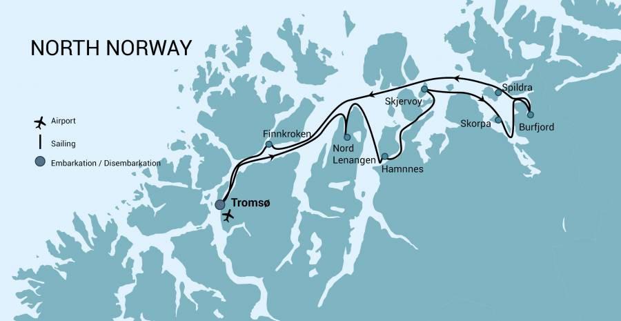 Map for North Norway, Aurora Borealis - Hike & Sail