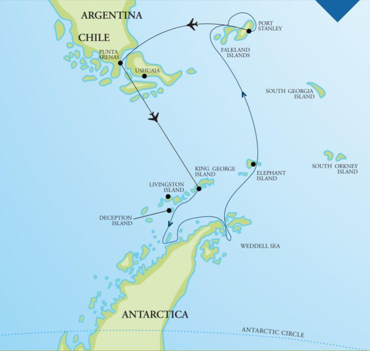 Map for Ultimate Antarctica with Weddell Sea (Akademik Vavilov)