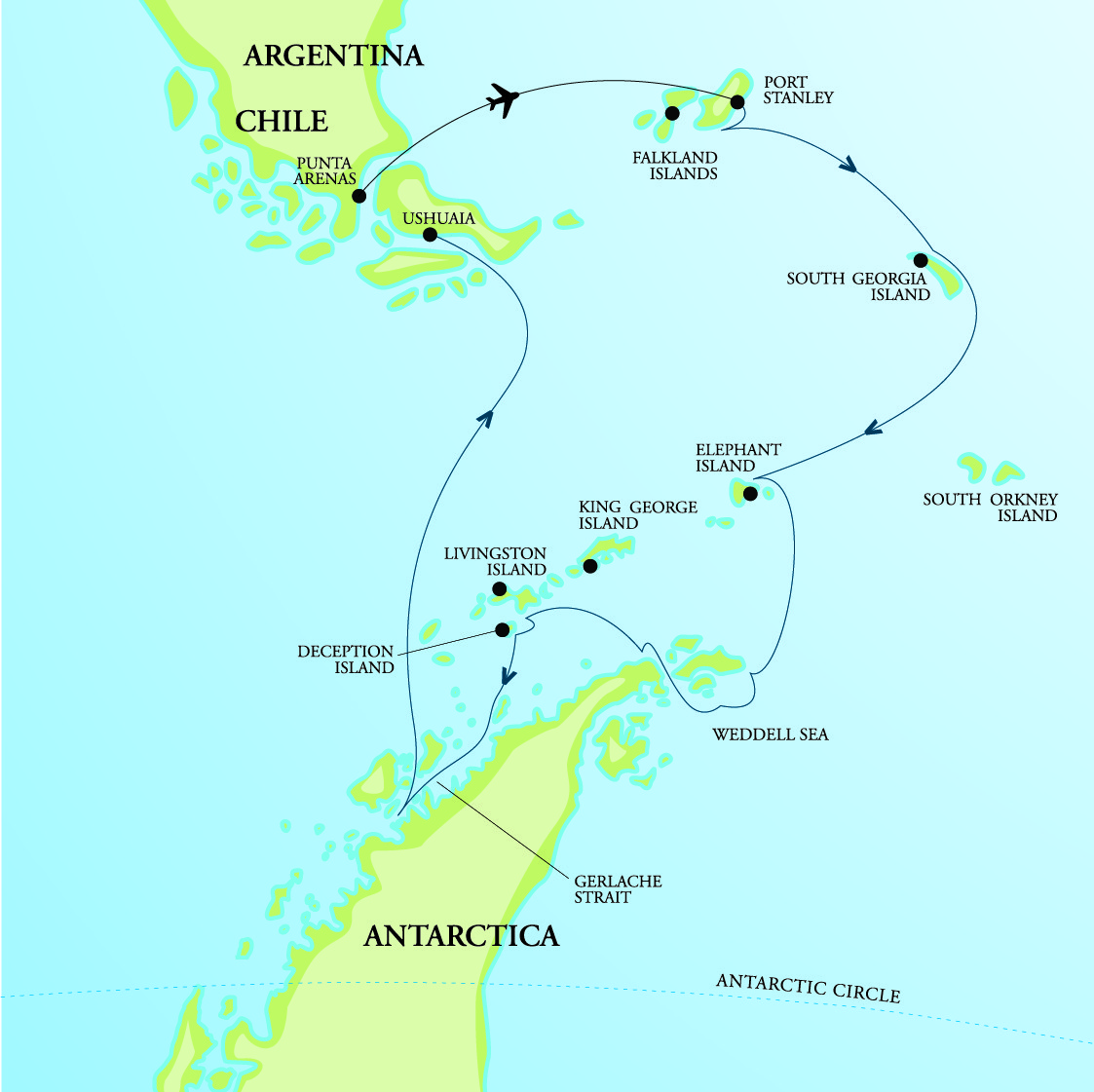 Map for Falklands, South Georgia & Antarctica - Mega Colonies
