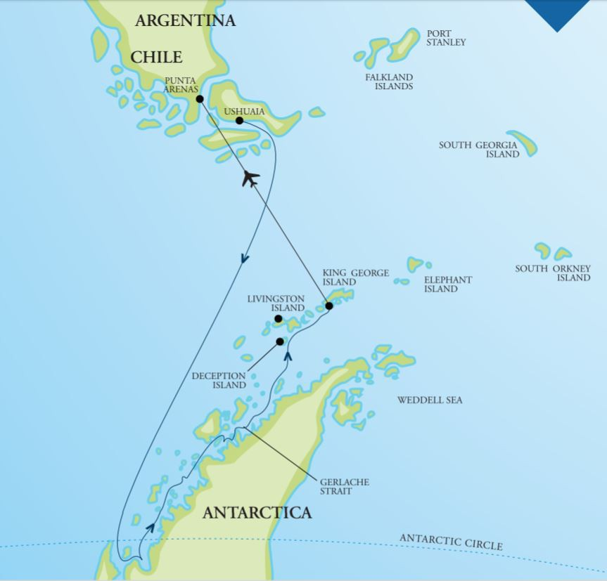 Map for Antarctica – 'In Depth' (Akademik Ioffe)