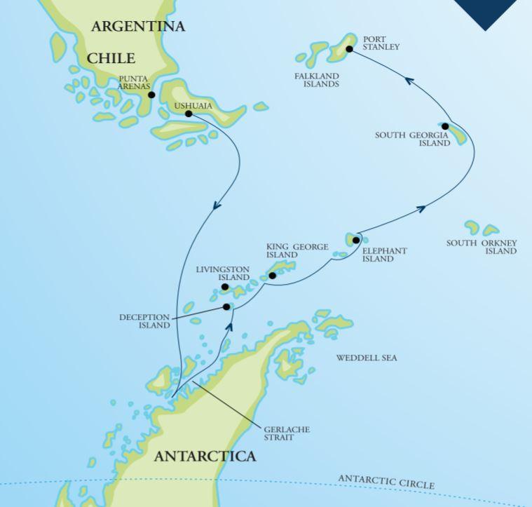 Map for Falklands, South Georgia & Antarctica 18 Days 2020 (Resolute)