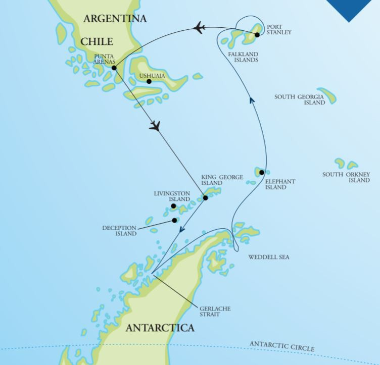 Map for 'Ultimate Antarctica' - Weddell Sea & Falklands (Akademik Ioffe)