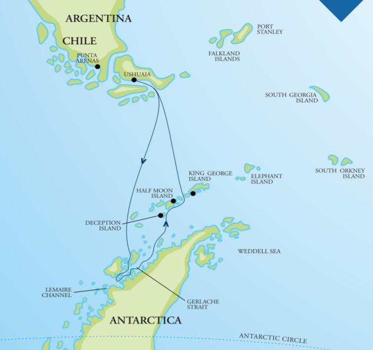 Map for Antarctic Peninsula Adventure
