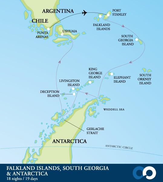 Map for Falklands, South Georgia & Antarctica 19 Days (Resolute)