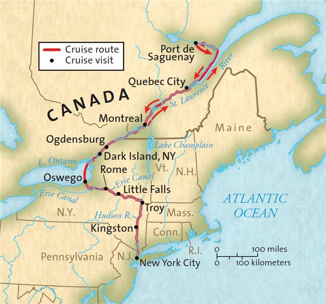 Map for Locks, Legends & Canals: The Saguenay (Grande Caribe)