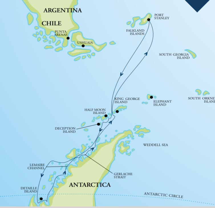 Map for Journey Below the Antarctic Circle 2020 (RCGS Resolute)