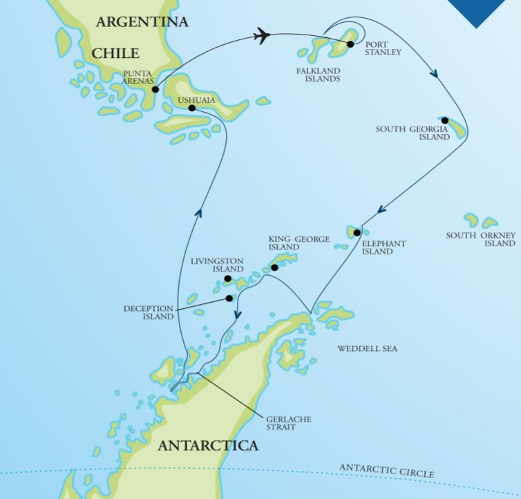 Map for Falklands, South Georgia & Antarctica 19 Day Fly Cruise