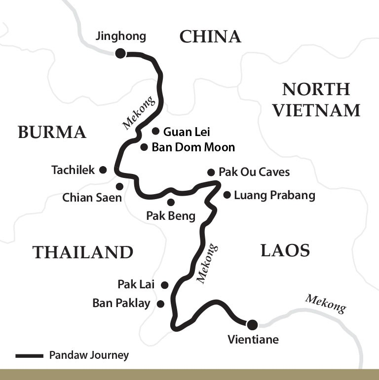 Map for The Mekong River: Laos to China Upstream (Sabaidee Pandaw)