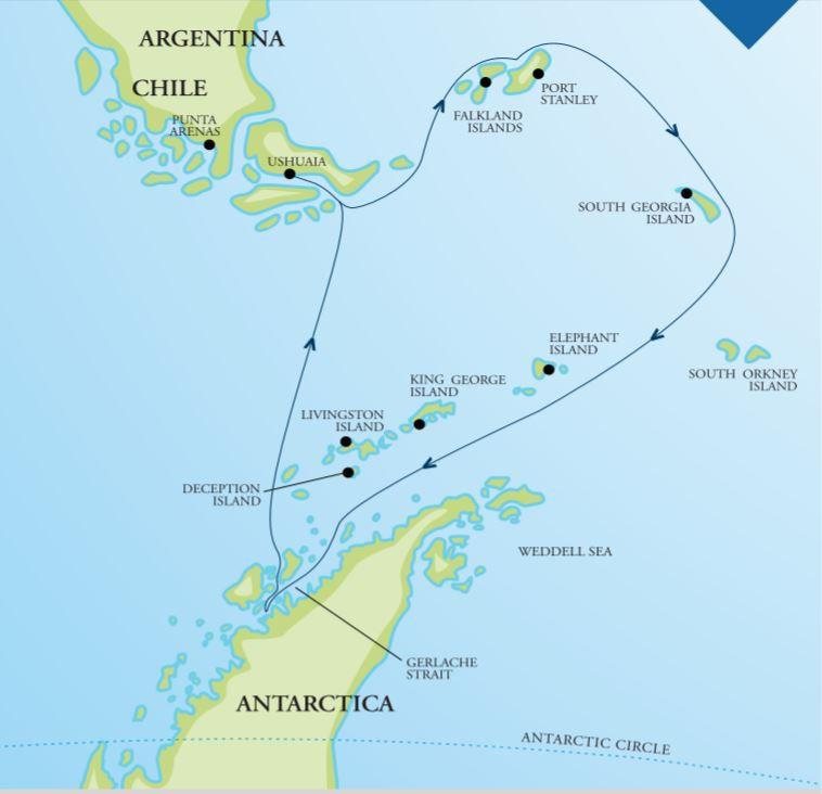 Map for Falklands, South Georgia and Antarctica (Akademik Ioffe)