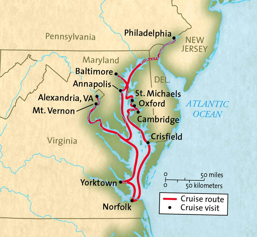 Map for Historic Chesapeake Bay Cruise (Grande Caribe)