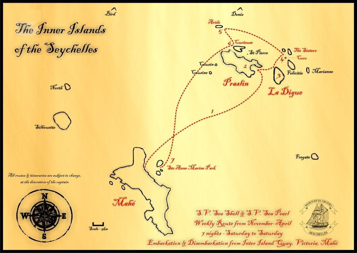 Map for The Seychelles From November to April