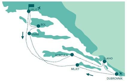 Map for Premium Croatia Cruise, Split to Split