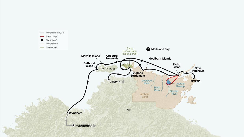 Map for Arnhem Land Explorer (Island Sky)